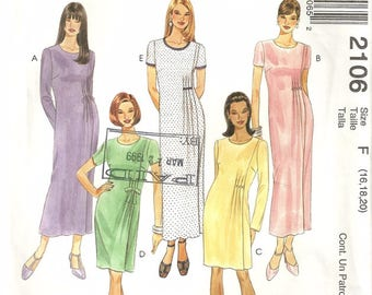 McCalls 2106 Misses Unique Pleated Fitted Dress Sewing Pattern Plus Size 16-18-20