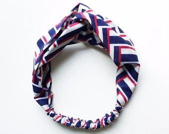 Phyllis Fabric Headband - Turban headband - Chevron - Boho headband - Womans headband - Adult headband - Navy fabric headband