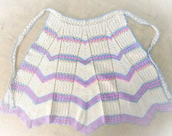 Vintage Apron Hand Crochet Kitchen Linens Half Waist Apron Pink Aqua Blue Beige 1940's 1950's MINT Vintage Linens