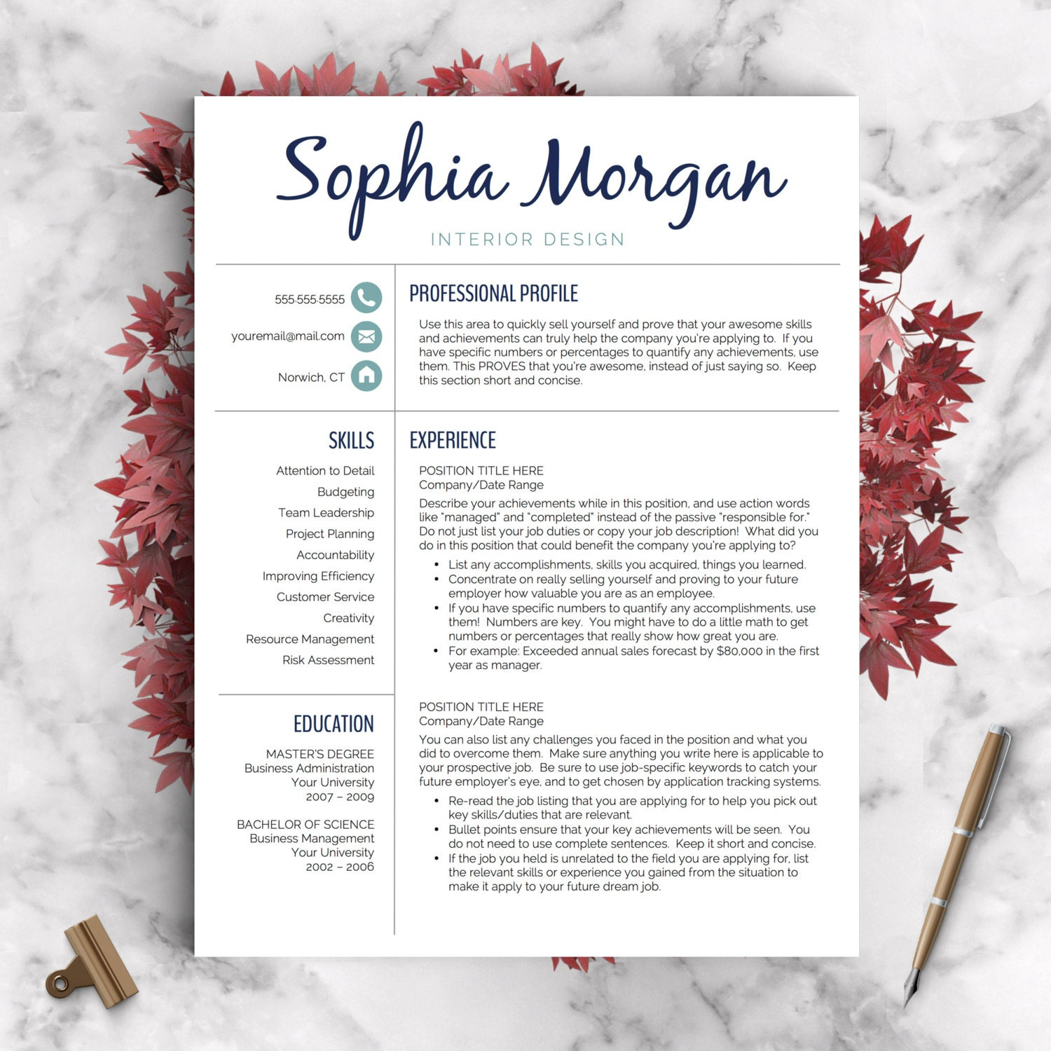 creative resume template resume for word and pages 1 2