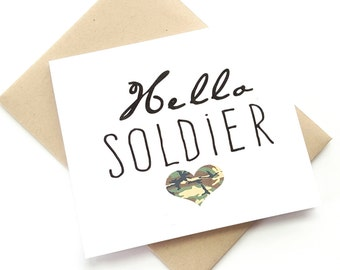 "Think of you ""Hello soldier"" greeting card-carrying for soldier-deployment greeting card"