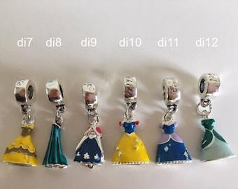 1 pc Disney charm dress from Cinderella, Snowwhite, Elsa, Belle, Anna and Ariel Pandora style for European brands bracelets like Pandora etc