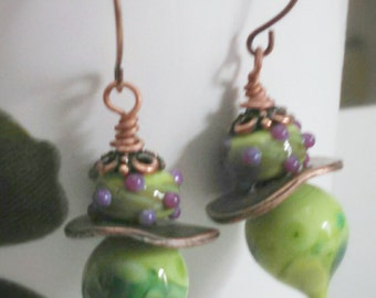 Quirky Green and Lilac Lampwork Dangle Copper Earrings