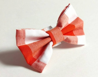 Cat or Dog Bow Tie - Checkered Orange and White Medium Size - no collar