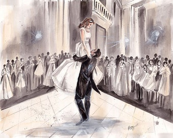 First Wedding Anniversary Gift - custom - wedding gift - original watercolor painting