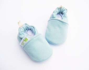 Warm Organic Cotton Fleece in Blue All Fabric Soft Sole Baby Shoes / Made to Order / Babies