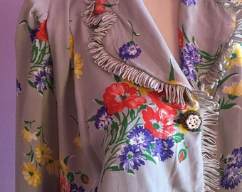 1930's floral rayon blouse