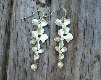 Long Floral Orchid Pearl Earrings, Bridesmaid Earrings, Gift for her, Birthday Gift, Christmas Gift, Gift for Mom, Gift for Women, Wife Gift