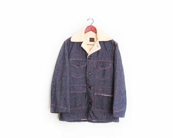 vintage denim jacket / shearling lined / barn coat / 1960s Sears shearling lined barn jacket jacket Medium