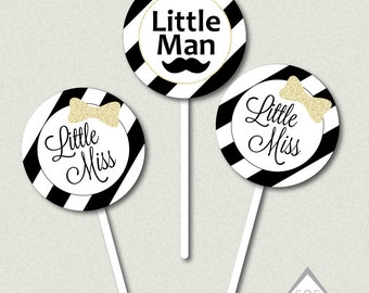 Black and White Gender Reveal Party, Printable Cupcake Topper, Little Man or Little Miss, Boy or Girl,gender reveal gift tag, Printable PDF