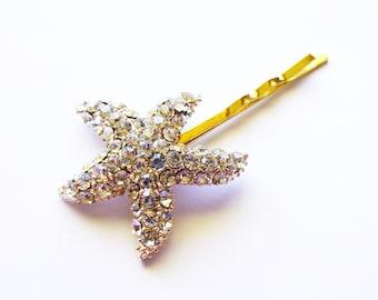 Rhinestone Starfish Hair Clip Bridal Bobby Pin Bride Bridesmaid Mermaid Nautical Destination Beach Wedding Accessories Womens Gift For Her