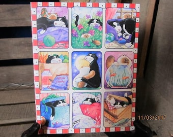 Rare 1989 Gibson Greetings Stickers Sneaky Black Cat Kitten Kitty