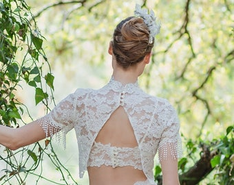 Bridal Clothing, Lace Top, Wedding Top, Bridal Top, Separates, Lace Sleeves, Wedding Separates, Wedding Dress Top, Open Back Top, Bohemian