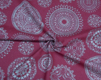 Cotton mixed fabric with ornaments-red/gold