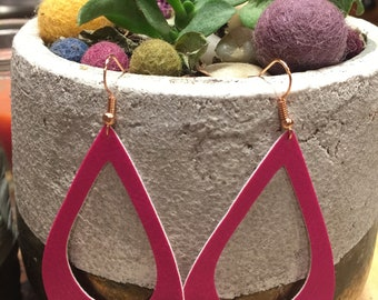 Hot Pink Faux Leather Teardrop Hoop Earrings