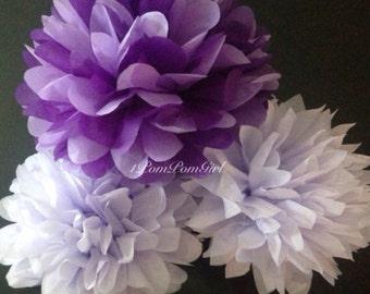 PURPLE SWIRL / 15 tissue paper pom poms / Baby Shower, Birthday, Wedding, Bridal Shower, Nursery Decor