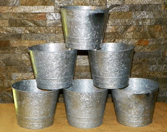 """Grey Galvanized Metal 6"""" High by 7"""" Wide Buckets, Set of 6 Ready to Decorate or Just add Potted Flowers"""
