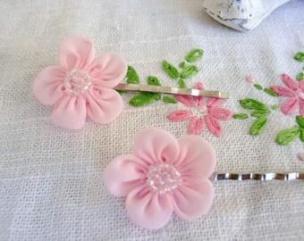 Pastel Pink Beaded Organza Bridal Hair Pins, Flower girl hair pins, Bridesmaids hair ornaments, Hair Accessories, wedding hair pins, wedding