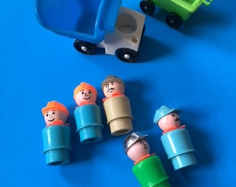 Fisher Price Little People  Green Blue Beige Railway Railroad Construction Men Workers with Extras