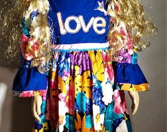 Flowered girls love dress