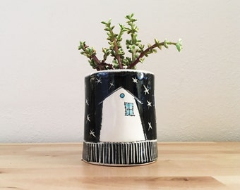 Cactus Planter Succulent Planter with House and Starry Night