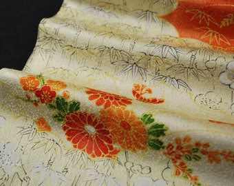 "14.5""w. x 32.2""l. Vintage silk kimono fabric beige and orange cloud and ume plum blossom 2817H"