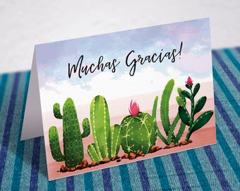 Muchas Gracias Card   Thank You Card   Matching Thank You Card   Fiesta   Cactus   Instant Download Thank You Card   Printable Thank You
