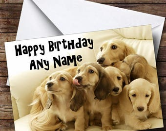 Dachshund Puppy Dogs Personalised Birthday Card