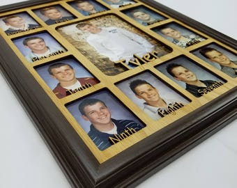 School Years Picture Frame - Personalized With Any Name - 10 Color Choices (Shown in Espresso Frame)- Graduation Frame - Spelled Out - 11x14