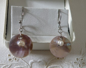 Winsome Freshwater Pearl with Mother of Pearl Sterling Silver Earrings