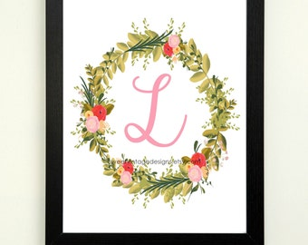 Letter L Printable, 8x10 Instant Download, Baby Girl Nursery Art, Nursery Decor, Floral Monogram, Letter Art, Baby Gift, Baby Shower Gift