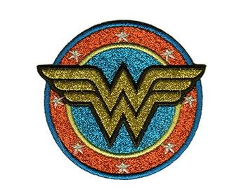 Wonder Woman Glitter Iron On Applique, Wonder Woman Logo Patch, Genuine DC Comics Patch, WonderWoman Applique, Kids Patch