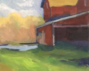 The Farmstead Original Plein Air Landscape Oil Painting