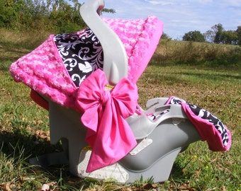 Reupholstered Infant Car Seat cover baby girl Hot Pink Rose Cuddle and Black and White Cotton Print beautiful