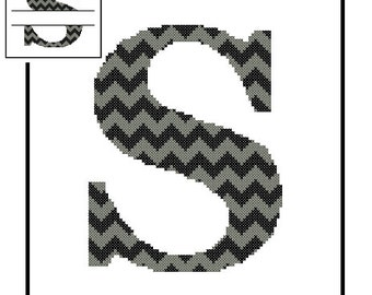 Chevron Monogram S Cross Stitch Pattern S Initial S Letter cross stitch Wedding Gift split letter cross Wedding Record Anniversary