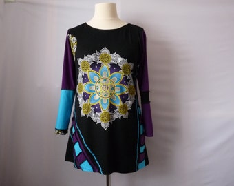 Boho hippie clothes Plus size clothing Womens tops Womens clothing Upcycled tunics Recycled clothes Plus size bohemian clothing Shabby chic