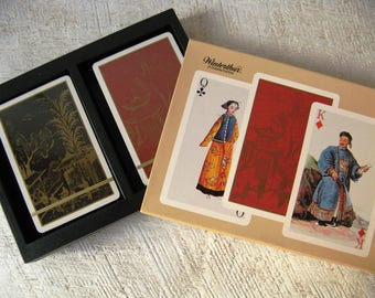 Beautiful NOS Vintage Chinoiserie Double Deck Playing Cards Featuring Historic Chinese Costume Winterthur Museum Delaware 1984