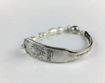 New Hampshire Bracelet, Pearl Bracelet, New Hampshire Jewelry, Spoon Bracelet, Spoon Jewelry, Wife Gift, New Hampshire Gift