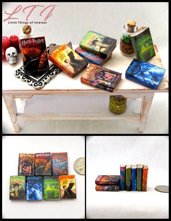 Popular Boy Wizard Book Series 1:12 Scale Miniature Book Set PROP Faux Magic Witch Fortune Teller Gypsy Potter Real Paper Pages