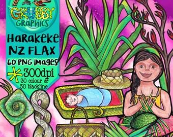 New Zealand Flax Harakeke Clip Art, Instant Digital Download