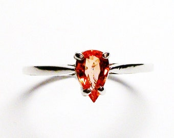 """Sapphire ring, sapphire,  orange sapphire, orange, solitaire pear ring, birthstone ring, s 7 3/4  """"Mio Amore"""""""