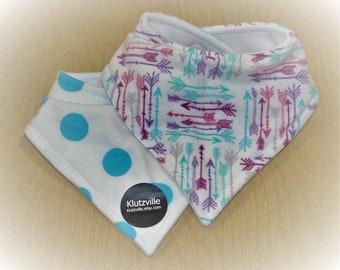 Aqua Polka Dots and Arrows Prints Bandanna Drool Bibs set of 2
