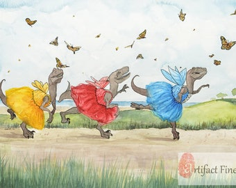 "Large (~11x16) Limited Edition Archival Giclee Print of fairy dinosaurs chasing butterflies ""Golden Afternoon"""