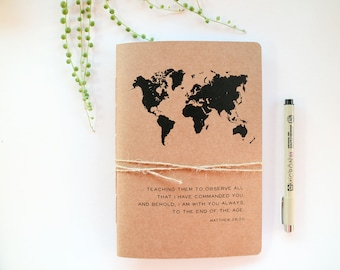 Missionary Travel Journal - Personalised Travel Journal - Custom Names Travel Journal - Missionary Gift - Christian - Recycled Notebook