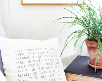 "Love Grows Best in Little Houses Throw Pillow Cover // 18"" x 18"", Farmhouse, Fixer Upper, Scripture, Christian, Home Decor, Pillows, Cotton"