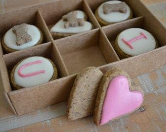 Valentine's Day dog treats - I love U  Box of 12 PupBiscuits - grain free