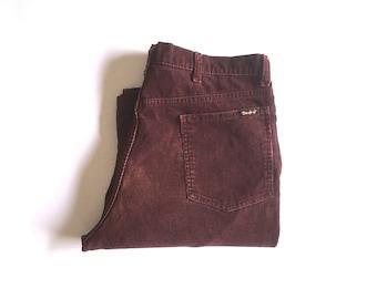 Vintage Men's 70's Thumbs Up, Corduroy Pants, Burgundy, Flare Leg (W34 x L26 1/2)