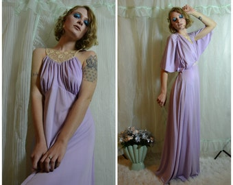 70s slinky pastel purple prom dress with cream lace detail and cape