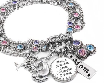 Gifts for Mother, Personalize Jewelry with Childrens Names, Birthstone Gifts for Mom, Birthstone Jewelry for Grandma, Nana, Mimi, MeMaw