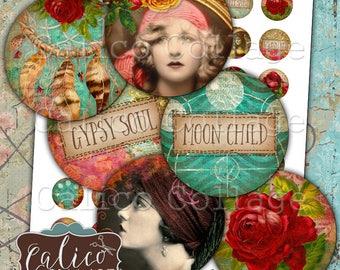 Gypsy Love, Bottlecap Images, Digital, Collage Sheet, Printable Images, 1 Inch Circles, Boho Collage Sheet, Printable Download